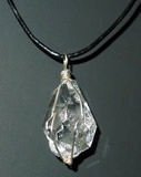 Herkimer Diamond necklace or pendulum with a natural tear drop shape.